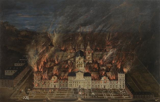 Anónimo. Incendio de El Escorial (1633). Museo del Prado